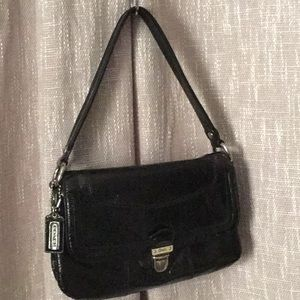 """COACH Black Crinkled Patent Leather Purse 10""""x7"""""""